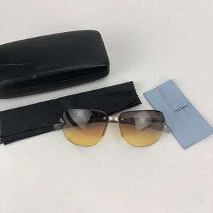 Prada Rimless Purple Yellow Lens Sunglasses